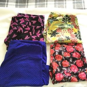 LuLaRoe Tall And Curvy Leggings Lot of 4 Mixed